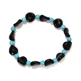 72 Ct Black Agate and Blue Howlite Stretchable Beaded Bracelet 7.5 Inch