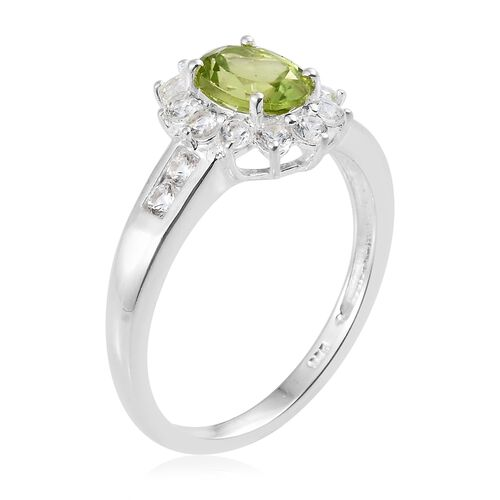Super Auction- One Time Deal- Hebei Peridot (Ovl 8X6 mm 1.20 Ct), Natural Cambodian Zircon Ring in Sterling Silver 2.500 Ct.