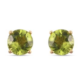 Peridot 2 Stone Push Post Earring in 14K Gold Overlay Sterling Silver 1.39 ct  1.394  Ct.