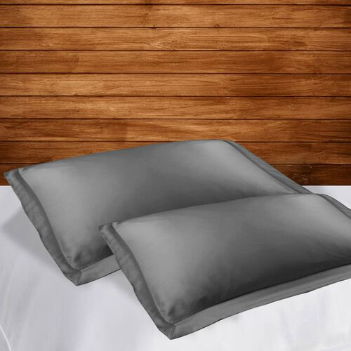 Set of 2 - 100% Bamboo Oxford Pillow Cases (Size 50x75cm) - Dark Grey