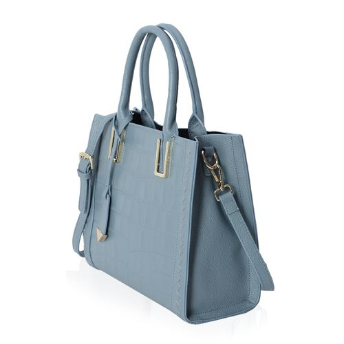 100% Genuine Leather Blue Croc Embossed City Tote Handbag with Removable Shoulder Strap (Size 28x24.5x12 Cm)