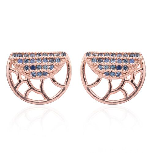 Madagascar Blue Sapphire (Rnd) Stud Earrings (with Push Back) in Rose Gold Overlay Sterling Silver