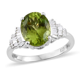 3 Carat AAA Hebei Peridot and Diamond Ring in Platinum Plated Silver