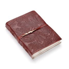 Floral Embossed Leather Diary with Strap (Size 17.78x12.7 Cm) - Maroon
