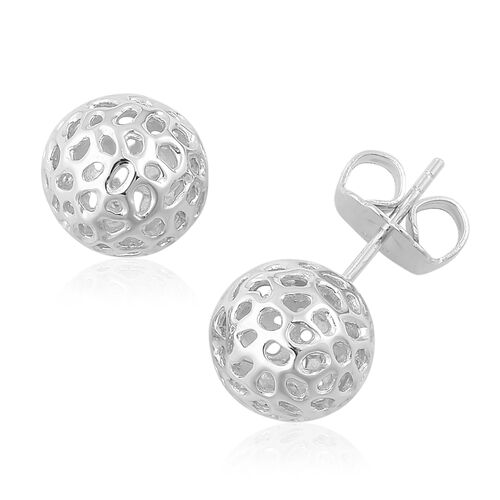 RACHEL GALLEY Rhodium Plated Sterling Silver Globe Stud Earrings (with Push Back). Silver Wt 4.41 Gms