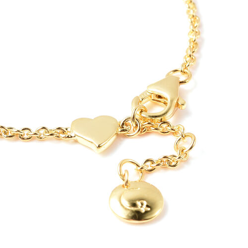 RACHEL GALLEY Heart Collection - Yellow Gold Overlay Sterling Silver Heart Station Adjustable Bracelet (Size 8)