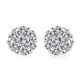 Diamond Pressure Set Floral Stud Earrings in Platinum Plated Sterling Silver
