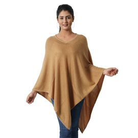 Limited Available - 100% Himalayan Pashmina Wool Poncho - Khaki Colour (Free Size/70x70Cm)