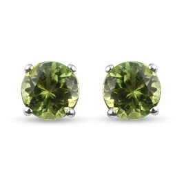 Peridot Stud Earrings (with Push Back) in Platinum Overlay Sterling Silver 1.77 Ct.