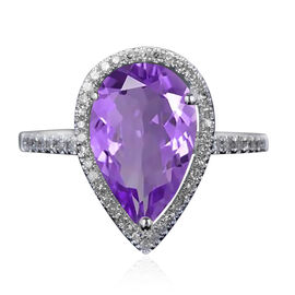New York Close Out - Zambian Amethyst (Pear 12x8 mm), Simulated Diamond Ring in Rhodium Overlay Ster