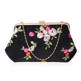 Luxe Multi Colour Flower Embroidered Large Clutch Bag with Gold Removable Should Strap  ( size 29x18cm)