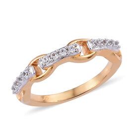 Natural Cambodian Zircon (Rnd) Ring in 14K Gold and Platinum Overlay Sterling Silver 0.250 Ct.