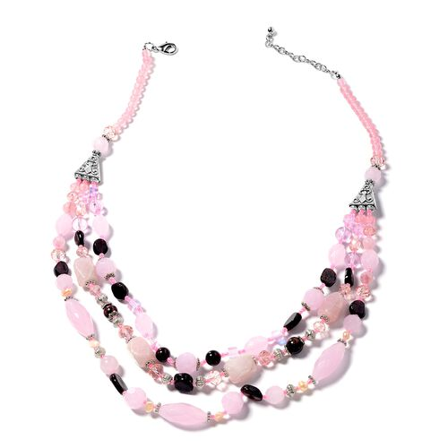 Rose Quartz, Simulated Pink Sapphire, Garnet, Fresh Water Pearl-  Champagne Multi Colour Beads Necklace (Size 24) in Silver Bond.