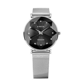 Jowissa -Facet Swiss  Water Resistant Black Dial Bracelet Watch with Star Cut and Stainless Steel Me
