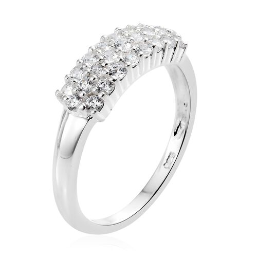 J Francis Sterling Silver (Rnd) Cluster Ring Made with SWAROVSKI ZIRCONIA