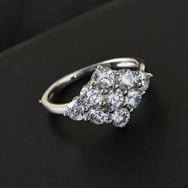 J Francis Platinum Overlay Sterling Silver Cluster Ring Made with SWAROVSKI ZIRCONIA 2.90 Ct.