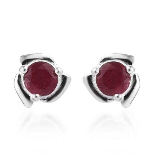 1 Carat African Ruby Solitaire Stud Earrings in Sterling Silver
