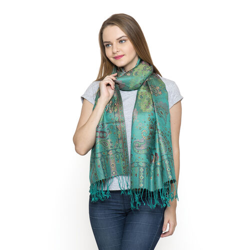 SILK MARK - 100% Superfine Silk Teal and Multi Colour Jacquard Jamawar Scarf with Tassels (Size 180x70 Cm) (Weight 125 - 140 Gms)