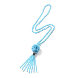 Simulated Blue Topaz, White Crystal and Tassel Necklace 31 Inch