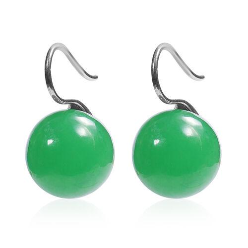 Burmese Green Jade Bead Hook Earrings in Silver Tone 41.00 Ct.
