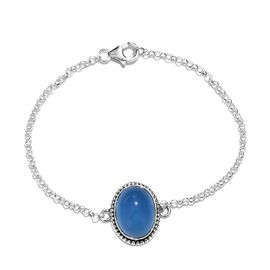 Artisan Crafted Blue Chalcedony (Ovl) Bracelet (Size 7.5) in Sterling Silver 8.89 Ct.