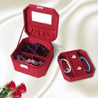 Wine Red Velvet Jewellery Box with Tassel Key Lock, Removeable Tray and Inside Mirror (16.5x16.15x10