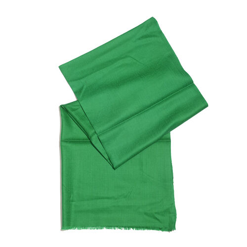 Mothers Day Special-100% Cashmere Wool Dark Green Colour Shawl with Fringes (Size 200X70 Cm)