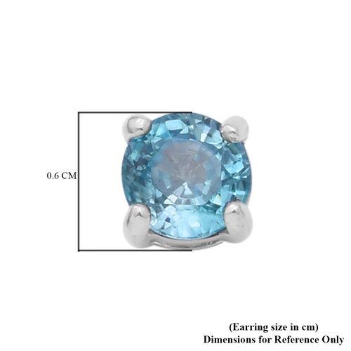 Ratanakiri Blue Zircon Stud Earrings (with Push Back) in Rhodium Overlay Sterling Silver 2.00 Ct.