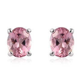 Pink Tourmaline Stud Earrings (with Push Back) Platinum Overlay Sterling Silver 0.75 Ct.