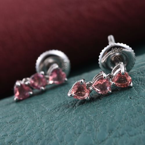 ILIANA 18K White Gold Sri Lankan Padparadscha Sapphire (Hrt) Earrings (with Screw Back) 1.000 Ct.