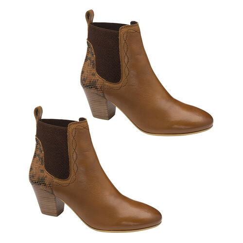 Ravel Moa Snake Pattern Leather Heeled Ankle Boots (Size 6) - Tan