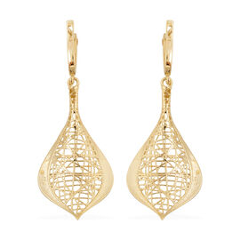JCK Vegas Diamond Cut Leaf Design Drop Earrings in 9K Gold