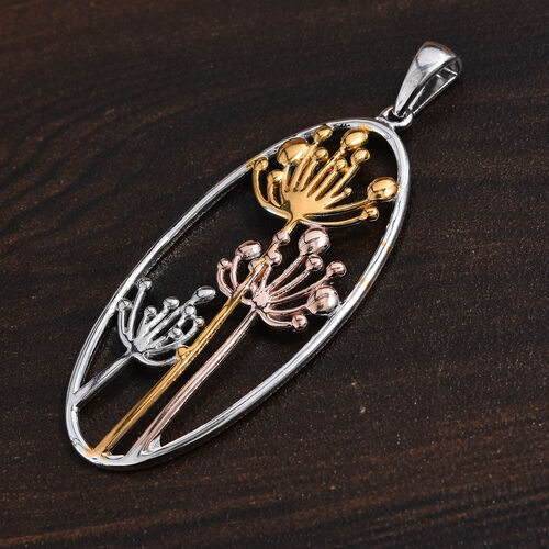 Platinum, Yellow and Rose Gold Overlay Sterling Silver Pendant, Silver wt 4.16 Gms.