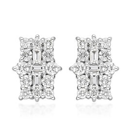 ILIANA 18K White Gold IGI Certified (SI/G-H) Diamond (Bgt and Rnd) Earrings (with Screw Back) 1.00 C
