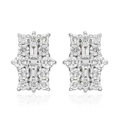 ILIANA 18K White Gold IGI Certified (SI/G-H) Diamond (Bgt and Rnd) Earrings (with Screw Back) 1.00 C