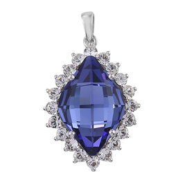J Francis -Crystal from Swarovski Tanzanite Colour Crystal and White Crystal Pendant in Platinum Ove