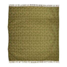King Size Floral Jacquard Woven Cotton Chenille Bedspread in Beige and Green Colour (260x240 cm)