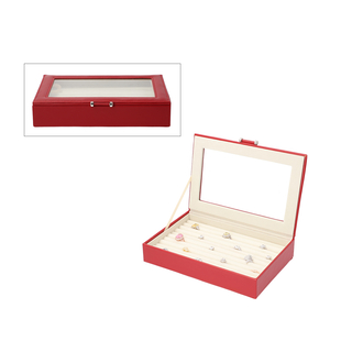 Portable Anti Tarnish Lining Jewellery Box with Glass Window (Size:26.7x17.8x5.5Cm) - Wine Red