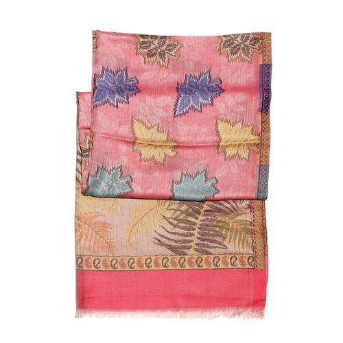 Pink and Multi Colour Spring Colours Jacquard Scarf with Fringes (Size 190X70 Cm)