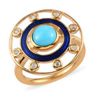 Arizona Sleeping Beauty Turquoise and Natural Cambodian Zircon Enamelled Ring (Size L) in 14K Gold Overlay St