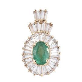 Signature Collection- 9K Yellow Gold Kagem Zambian Emerald (Ovl) Natural Cambodian Zircon Pendant 2.250 Ct.