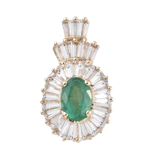 2.25 Ct Zambian Emerald and Cambodian Zircon Halo Pendant in 9K Gold 1.82 Grams