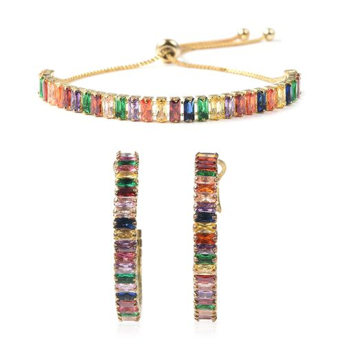 2 Piece Set - Simulated Rainbow Sapphire Adjustable Bolo Bracelet (Size 6-9) and Earrings (with Clas