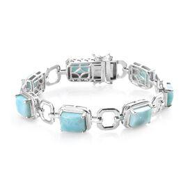 Larimar Bracelet (Size 7) in Platinum Overlay Sterling Silver 21.00 Ct, Silver wt 15.80 Gms