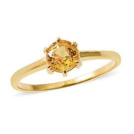Chanthaburi Yellow Sapphire (Rnd) Solitaire Ring in Yellow Gold Overlay Sterling Silver 1.100 Ct