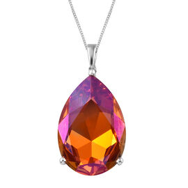 J Francis - Crystal From Swarovski Astral Pink Crystal (Pear 30x20 mm) Pendant With Chain (Size 30) in Platinum Overlay Sterling Silver, Silver wt 6.18 Gms.