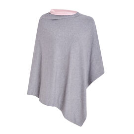 Kris Ana Contrast Grey and Pink Poncho (60x75cm)