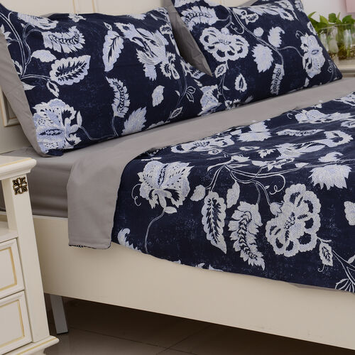 Microfiber Printed Fabric Blue Duvet Cover with Floral Design (Size 200x200 Cm), Fitted Sheet (Size 220x140 Cm) and Blue Pillow Case (Size 75x50 Cm)