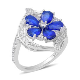 JCK Vegas 3.13 Ct Blue Spinel and Zircon Floral Ring in Rhodium Plated Sterling Silver