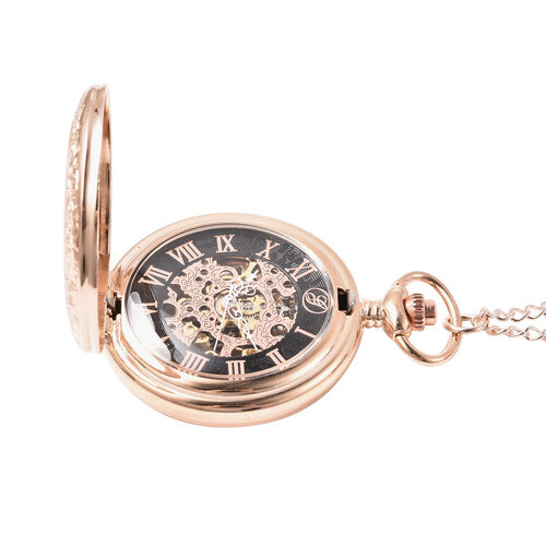 GENOA Automatic Mechanical Skeleton Pocket Watch with Chain in Rose Gold Tone